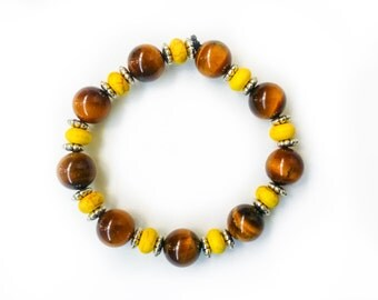 Tiger Eye & Yellow Glass Sterling Silver Bracelet