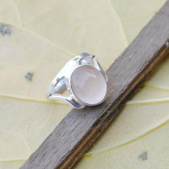 Genuine Rose Quartz Gemstone 925 Sterling Silver Designer Gift Ring Size 6 Jewelry, Birthstone Ring, Unique Gift Jewelry, Wedding Gift Ring