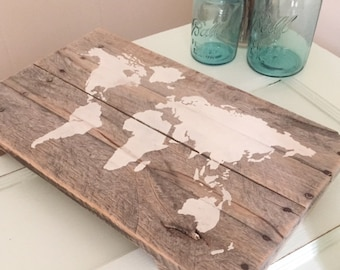 World Map on Reclaimed Pallet Wood