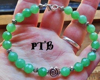 Increase Luck ~ Authentic Faceted Green Aventurine 8mm Gemstone Spiral Bracelet 9""