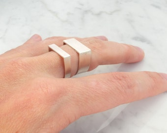 set of two simpel angular silver wedding rings, basic silver rings, pure jewelry, set minimalistic wedding bands
