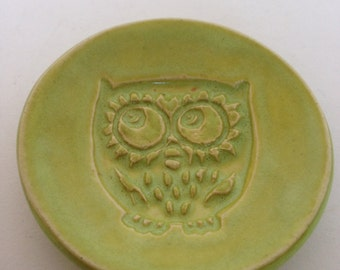 Small Lime Green Owl Pottery Dish