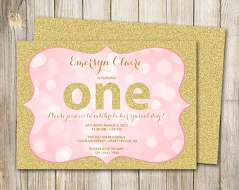 Pink and Gold Birthday Invitation, One Invitation, 1st Birthday Invite, Pink and Gold Glitter, Bokeh, Printable, 5x7