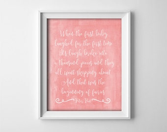 """INSTANT DOWNLOAD 8X10"""" printable digital art - """"When the first baby laughed"""" - Peter Pan quote - Peach Apricot - Nursery wall decor"""