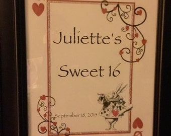 Alice In Wonderland ~ Mad Hatter Sign  ~ Centerpiece Customized