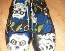 skull and crossbone blue flower handmade fabric flat pump shoes handmade to order