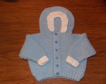 Hand Knitted Baby Boy's Hooded Sweater
