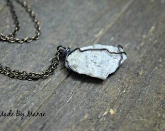 Rustic Crystal Pendant Necklace, Dalmation Stone, Bohemian Jewelry, Gypsy, Boho, Playful, Meditation, Healing, Oxidized Copper, Primitive