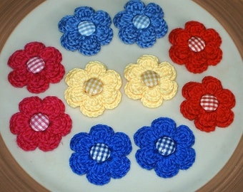 GINGHAM GARDEN - 1O Flowers with Button Centers for Applique, Scrapbook, Hats, Hairbows