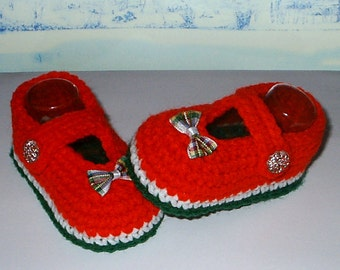 Cute Crochet *Holiday Mary Janes* 4 Baby Girl. 3-9 mos - Shoes, Booties, Christmas