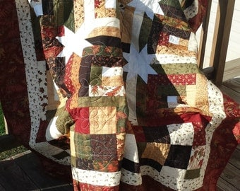 Log Cabin Block with Stars in Earthtones Quilt
