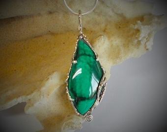 Malachite, sterling silver pendant