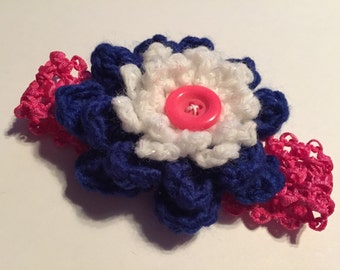 Crochet Flower Baby Headband - Newborn Baby Prop Headband - Infant Headbands - Baby Shower Gift - Newborn Headband