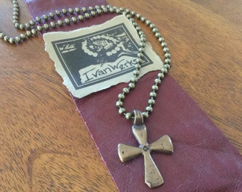Men's Cross Necklace Vintage Cross African Cross Chain Necklace Bronze Cross Christian Jewelry Teen Boy's Necklace