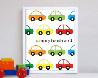 Kids wall trucks cars wall decor wall print home decor nursery poster