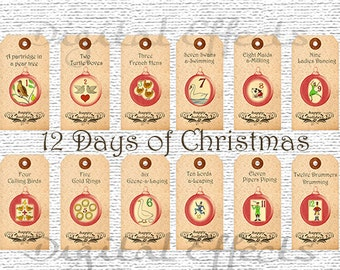 DIGITAL CHRISTMAS Gift Tags,12 Days of Christmas Gift Tags,Printable Christmas Gift Tags, Christmas Digital Collage,Instant Download Item