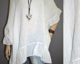 44 46 48 50 / 16 18 20 22 Italian Boutique 100% Linen Lagenlook Tunic Dress Plus Size Boho Quirky