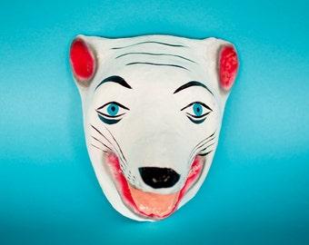 Traditional Mexican paper mache mask Polar bear