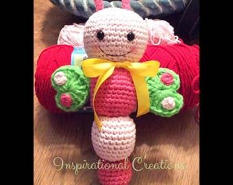 Crochet Baby Rattle, Handmade Baby Rattle, Butterfly Baby Rattle, Baby Toys, Amigurumi Baby Rattle, Plush Baby Toy, Rattles, Baby, Crochet