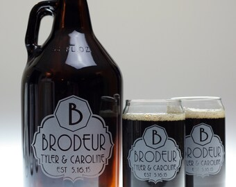 Wedding gift of  beer growler and glass set using fancy label with large initial art on 1 64oz Growler & 2 Glasses,wedding gift