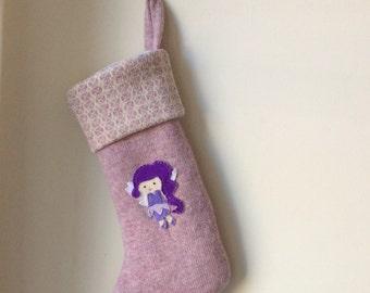 Fair Isle /Knit Christmas Stocking / Scottish Lambswool / Fairy Appliqué