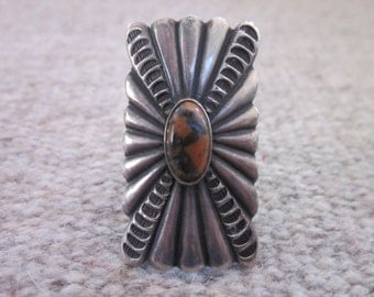 Native American Petrified Wood and Silver Ring