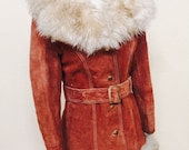 1970s Penny Lane Leather Coat with Fur