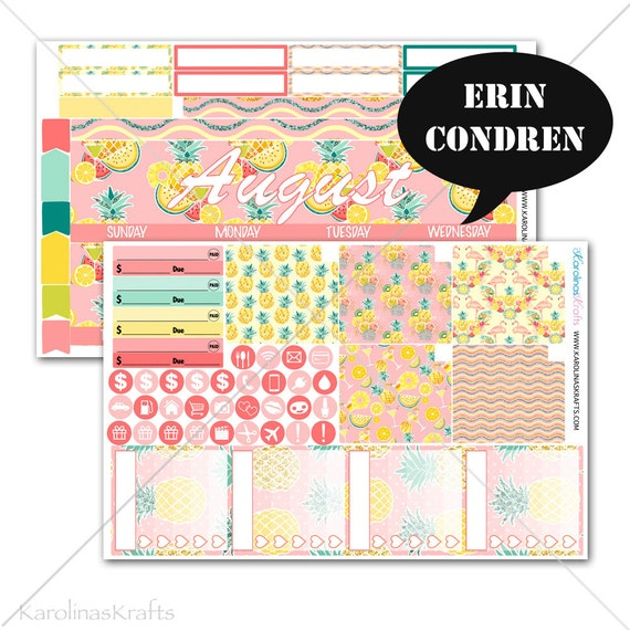 Pineapple MONTHLY Planner Kit / for Erin Condren Stickers / Life Planner Sticker / Monthly Sticker Kit #SQ00286-EC
