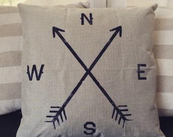 Compass and arrows linen pillow cover 18x18, throw pillow
