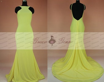 Backless Yellow Prom Dress,Sexy Mermaid Prom Dresses 2016,High Neck Formal Evening Gown,Tight Prom Dress,Long Yellow Bridesmaid Dress