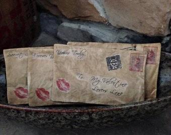 MADE TO ORDER: Set of 4 Primitive Valentine Fabric Envelopes