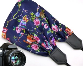 Owls scarf camera strap. Black DSLR / SLR Camera Strap. Colorful camera strap with flowers and birds. Finds by InTePro
