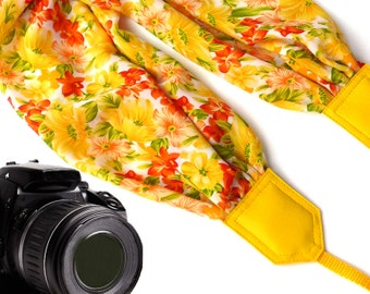 Yellow Scarf camera strap. Sunshine camera strap. Flowers DSLR Camera Strap . Camera accessories.  Durable camera straps by InTePro
