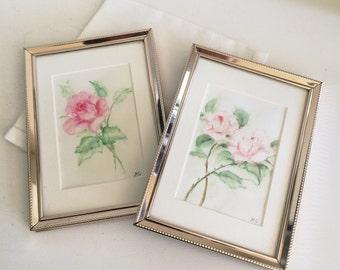 Sweet Original Watercolor Flower Paintings, Set of 2