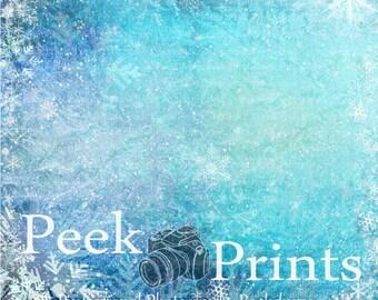 5ft.x5ft. Fozen Snowflake Vinyl Photography Backdrop- Christmas Ice Background