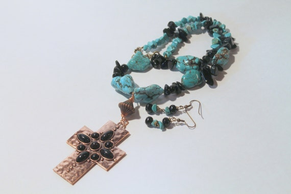 JKCE Designs Turquoise and Black Copper Cross Pendant OOAK Beaded Necklace and Earring Set, Cross Necklace, Gift For Her, Religious Jewelry