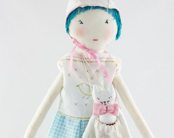 Light blue cloth with mouse ears Hat doll