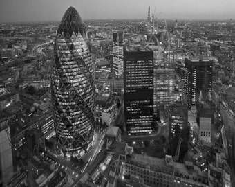 The Gherkin, Cityscape Of The Gherkin At Night in London England. Black & White Photography Picture, B And W Prints Framed / Unframed