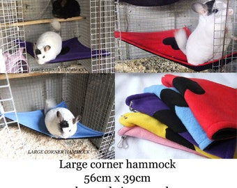 Large Corner hammock for chinchilla, degus, rats, small guniea pig many different colors fleece pet hammock