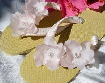 Bridal Party Wedding Flip Flops *BLUSH* ivory flats with swarovski crystals and silk flowers