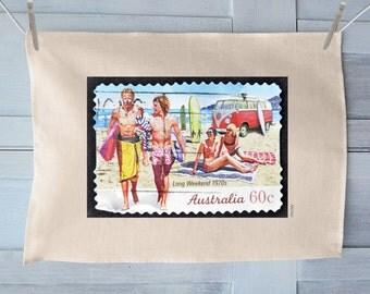 Australian Long Weekend 1970s Postage Stamp Tea Towel