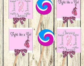 Printable Breast Cancer Survivor Lollipop covers