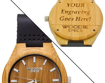 On Sale - Men's bamboo watch featuring a black leather band. FREE custom engraving!