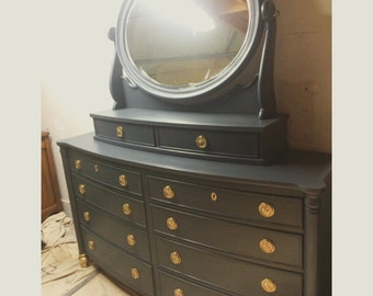 Large Navy and gold Dresser with mirror Dresser, Nightstands, Changing Table, Buffet, Credenza, bedroom furniture