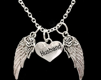 Husband Guardian Angel Wing, In Heaven, In Memory Sympathy Gift Necklace
