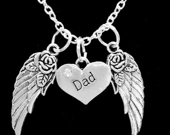Dad Guardian Angel Wing, Father In Heaven, In Memory Necklace