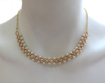 Pearls Necklace, Beaded Pearls Necklace, Wedding Necklace, Gold Necklace, Natural Pearls Necklace, Bridal Necklace, Christmas Gift