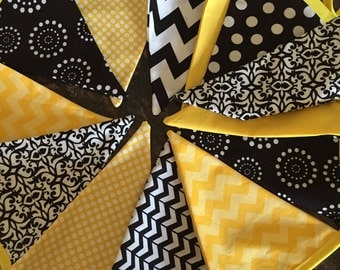 Black and yellow Bunting Personalized - Bee Wedding Shower Birthday Banner