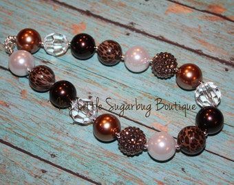 Brown Leopard Chunky Necklace--Bubblegum Necklace-Baby-Toddler-Girls-Women