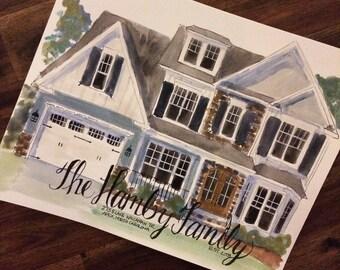8x10 watercolor Custom home illustration